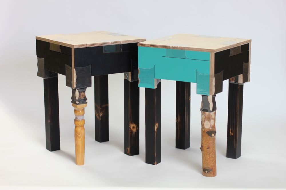 'Joining Bottles' tables made from scrap materials held together with heat shrunk plastic bottles by Micaella Pedros (2016).
