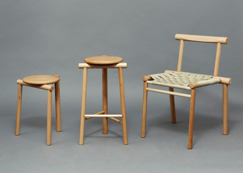 British designer James Shaw devised his 'Rodular Seating Collection' using identical joins across the three pieces.