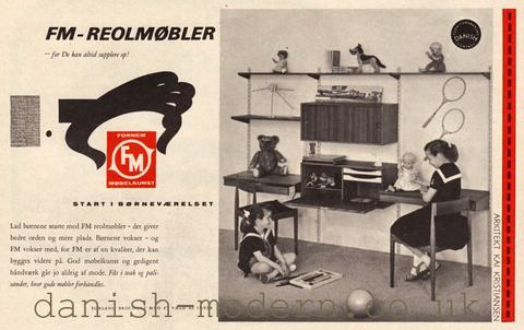 An advertisement for Kai Kristiansen's FM 170 storage unit for Fornem Møbelkunst designed in 1960. Image courtesy of danish-modern.co.uk