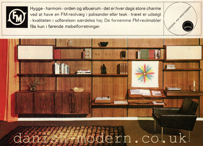 60's advertising of the FM170 storage system for Fornem Møbelkunst. The unit was offered in a wide variety of configurations in teak or palisander rosewood . Image courtesy of danish-modern.co.uk