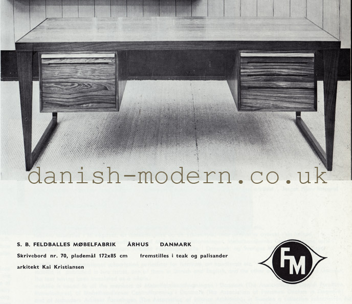 Model 70 desk by Kai Kristiansen for Feldballes Møbelfabrik. Image courtesy of danish-modern.co.uk
