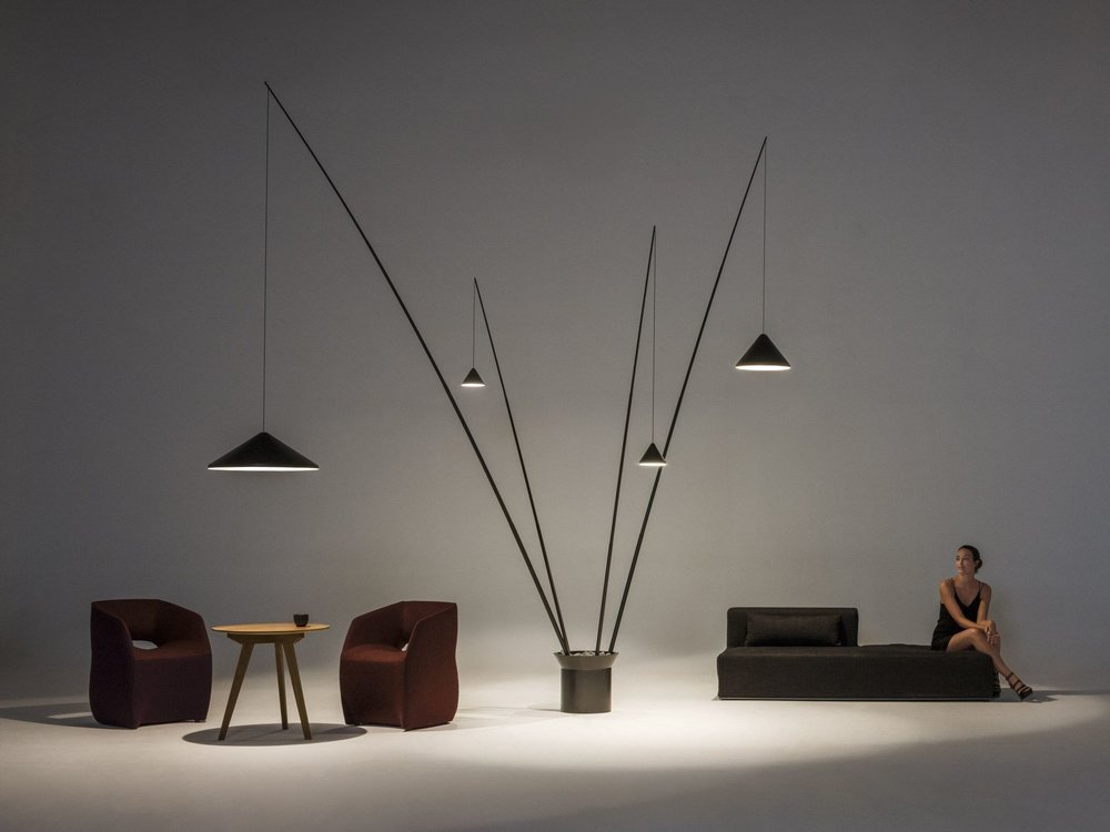 Arik Levy's 'North' floor lamp for Spanish brand Vibia. The design comes in various forms with 2, 3 or 4 arm versions.