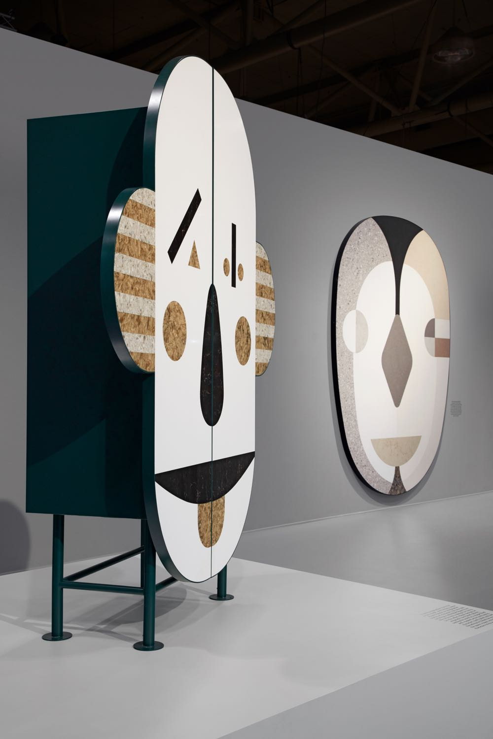 Hayon's cabinet 'Armedio' and wall sculpture as shown at IDS, Toronto.  Photography by Vicky Lam.