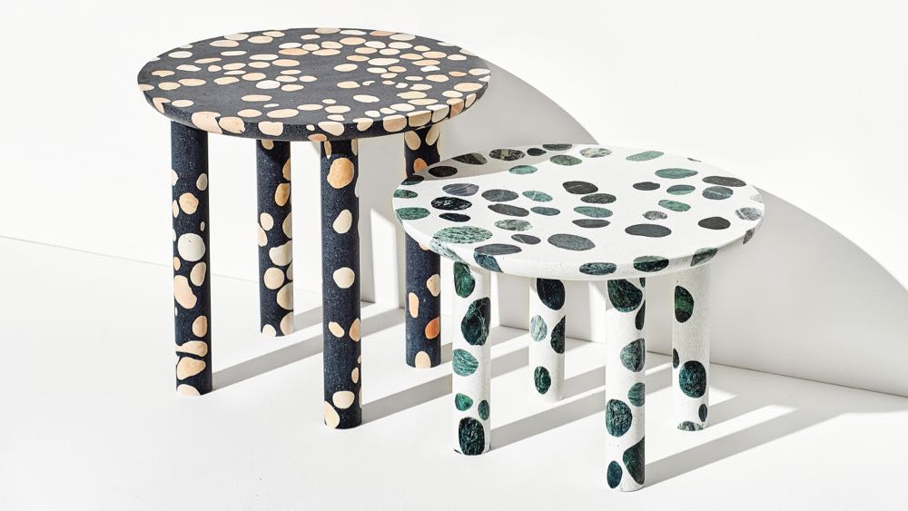 The T'errazzo' tables of Alberto Beliamoli revealed how the age old material can be taken in many different directions.
