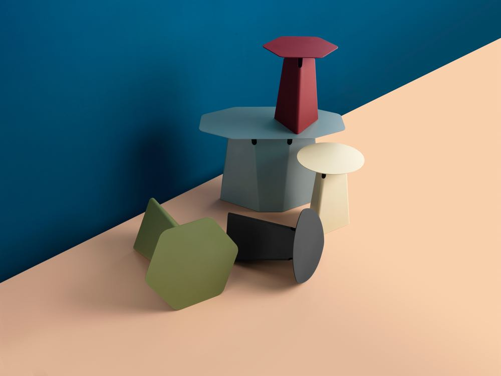 The 'Batch' table from Dutch label Pode comes in four shapes and many colours. It was designed and art directed by Studio Roderick Vos.
