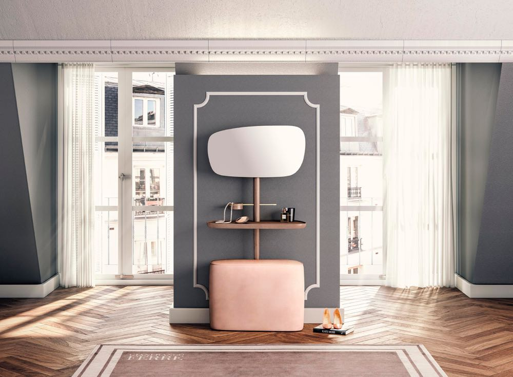 Quintessentially French looking but actually a product from Barcelona brand Nomon. The is a combination mirror shelf and velvet covered pouf for the ultimate dressing room experience.