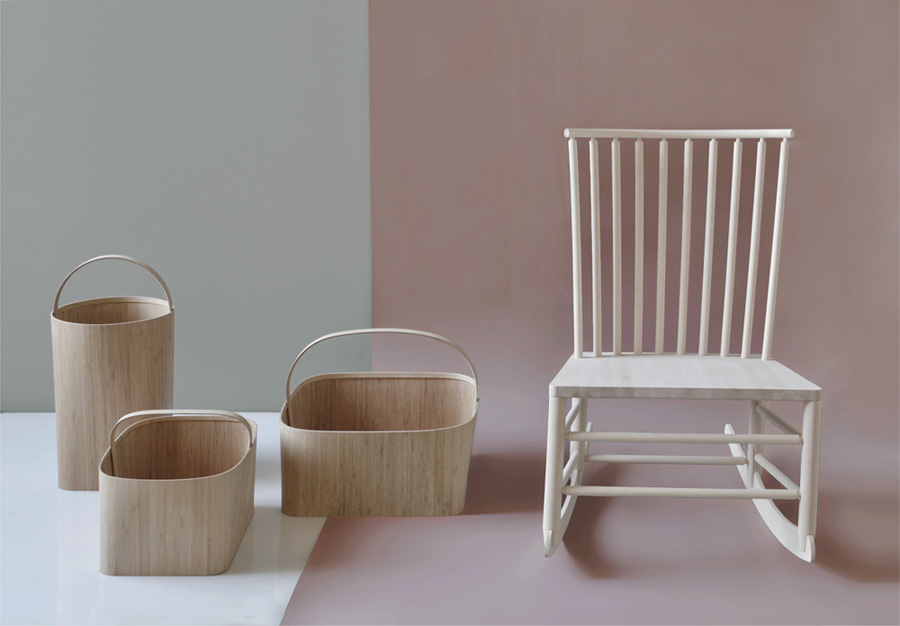A delightful scene from the Furnishing Utopia exhibition that started this post. The baskets and rocking chair are by Oregon based Studio Gorm.