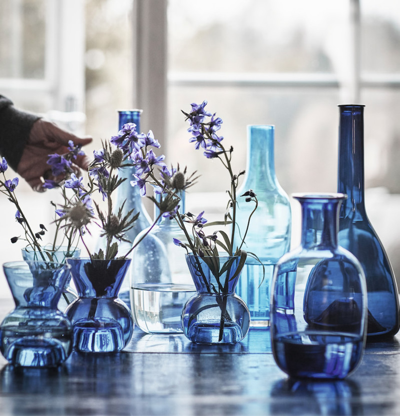 New Ikea glassware from the stockholm 2017 collection in a variety of blue tones.