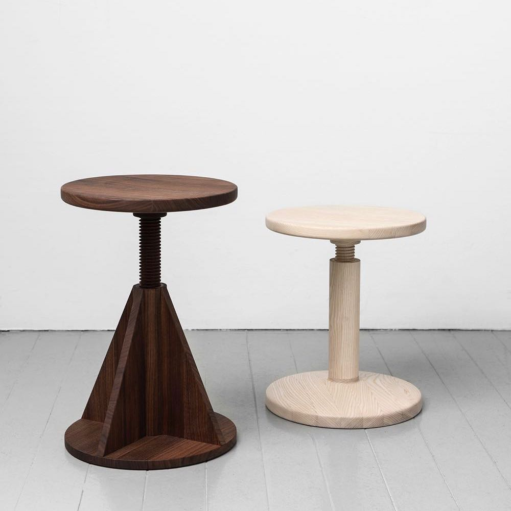 The 'All Wood Stools' are adjustable stools featuring archetypal shapes - pyramids, circles and cylinders.