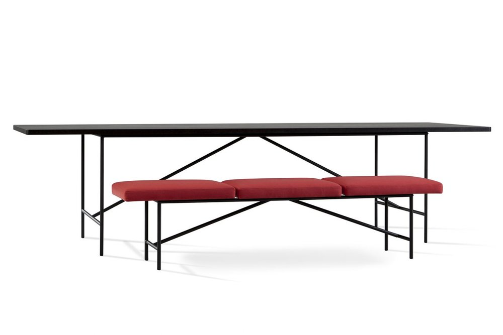 The wonderfully graphic properties of Matz Borgström's 'Piano' table and bench for Ihreborn.