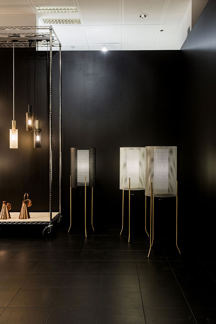 Rubn Lighting launched their new 'Vouge'  floor lights (right) and matching pendants (left). Photograph by Mikael Axelsson for Fred International.