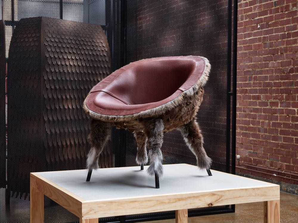 The 'Pankalangu' armchair and wardrobe  Broached Monsters  at Criteria Collections, Melbourne. Photograph by Dan Hocking.