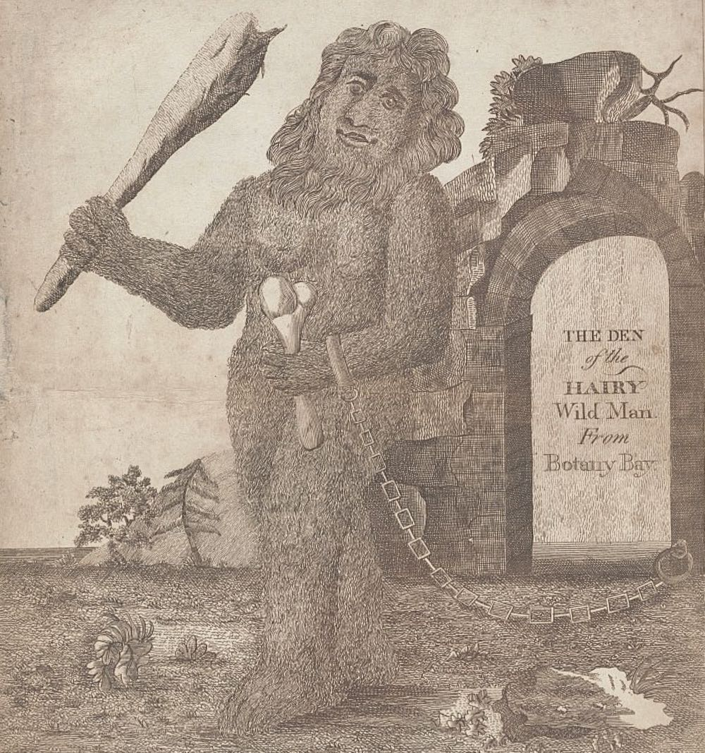 An etching depicting the Hairy Wild Man From Botany Bay from a pamphlet called Tour through the Apollo Gardens, In Gawsworth, near Macclesfield, Cheshire. The image was one of the strongest inspirations for Jansen's HWMFBB pieces.