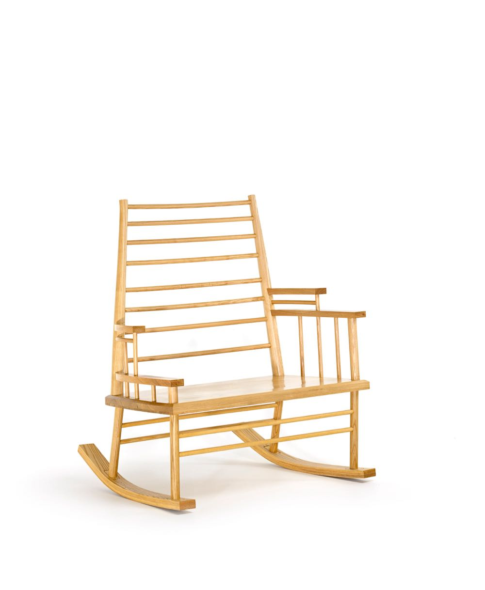 Trent Jansen's 'Chinaman's File Rocking Chair' for Broached Commissions 2013. Manufactured by JP Finsbury, Sydney Victorian ash and Manchurian ash, rubber, and steel. 112.7 x 96.8 x 79.5 cm