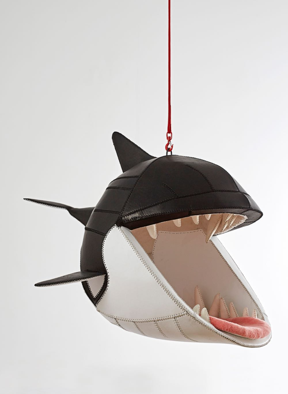 Porky Hefer's 'Fiona Blackfish' hanging chair designed in 2015, manufactured in 2016 in Leather, steel and sheepskin 170 x 164 x 135 cm