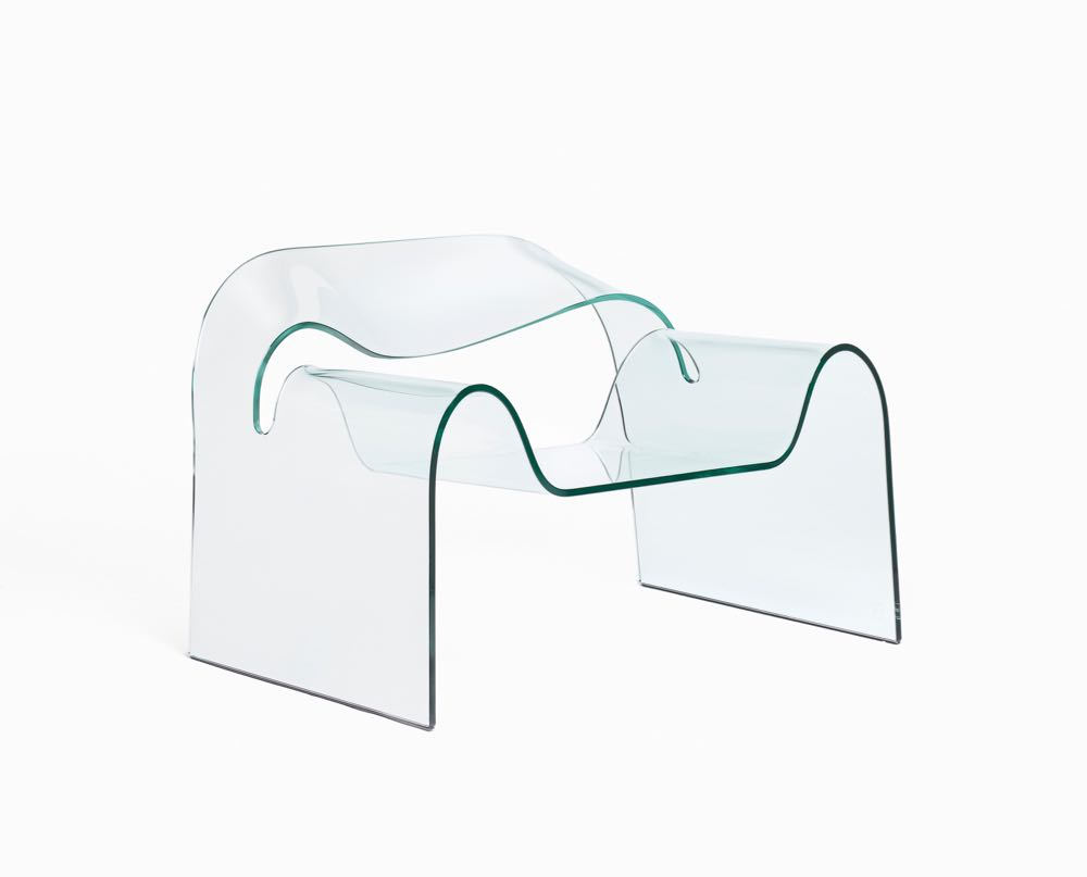 Cini Boeri and Tomu Katayanagi's 'Ghost' armchair designed in 1987 and manufactured by FIAM Italia, Tavullia, Italy. Made from solid glass. 95 x 75 x 68 cm