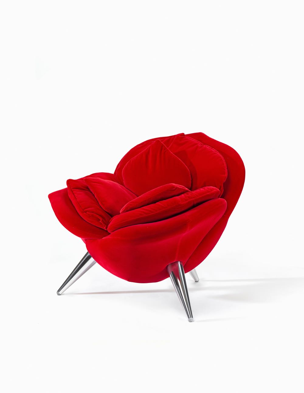 Masanori Umeda's 'Rose armchair' designed in 1989. Manufactured by Edra, Pisa, Italy from 1990. Cotton/silk velvet, polyurethane foam, plywood, synthetic polyester wadding, steel, aluminium, plastic. 80 x 90 x 82 cm