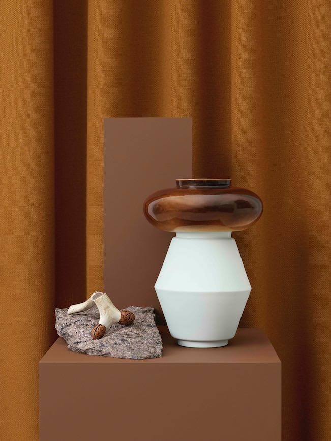 'Core Combination' by Andrea Muribø and 'Fam', a glazed porcelain vessel by Ann Kristin Einarsen.