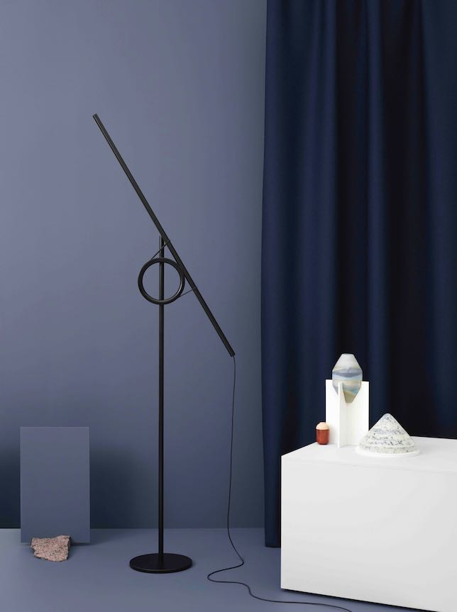 'Tangent' lamp by Jenkins & Uhnger, on the plinth - 'Norwegian Notes' by Kaja Dahl and 'Make' by Barmen & Brekke.