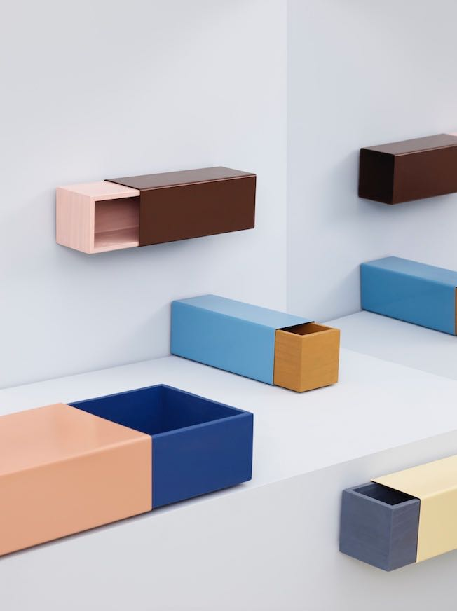 'Matchbox' shelving / storage in folded sheet steel and stained timber by Sara Polmar.