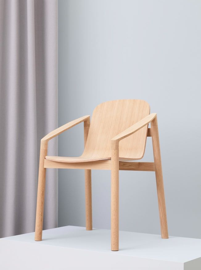 The 'Tjøme' chair by Jonas Stokke. The chair was made by boat builders from Risør Trebåtbyggeri using a Norwegian timber and will ultimately feature an upholstered leather seat.