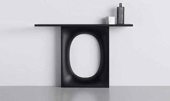 Kristalia's well received 'Holo' table by Kensaku Oshiro will be launched in console table form. 'Holo' is a slim and sculptural - perfect for a hallway or tight living space.