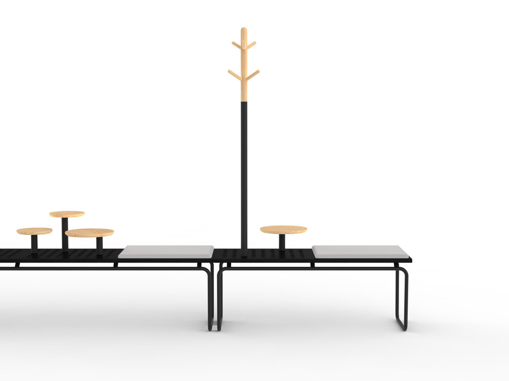 Another collection extension - accessories for the award winning 'Maki' bench from Crassevig. The benches feature repeating holes allowing for drop in accessories such as coat stand or tables
