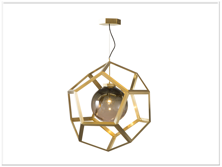 Edward van Vliet has a lot going on this year at Salone including launching this interesting geometric pendant light called 'Pluto'. It's open exagonal brass frame enclosing a perfect sphere of tinted glass.