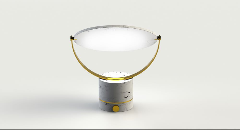 The 'OI' table lamp by Taiwanese designer  Meng Hsun Wu   will be on show as part of the  Age of Man  exhibition curated by London based Australian Golnar Roshan. The lamp features a thin marble disc which rotates to allow the LED mounted in the base to be reflect light in numerous ways. Meng Hsun Wu is based in the Netherlands.