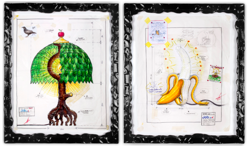Sketches of the 'Tiffany Tree' and 'Banana' lamps by Studio Job for Seletti.