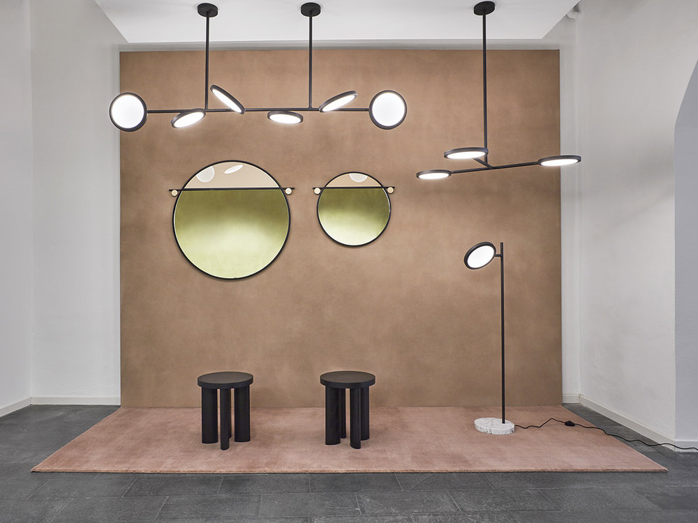 Matter Made's new Discus lights, Abal mirrors and Orbit stools.