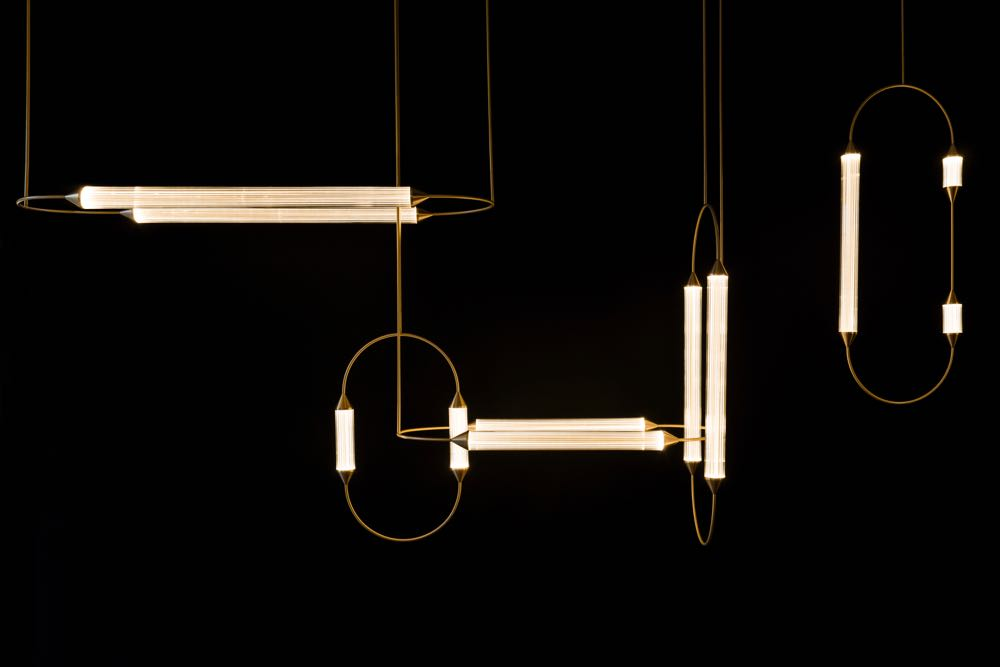 Giopato & Coombes released several new lighting collections including 'Cirque', in delicate etched clear glass and brass.