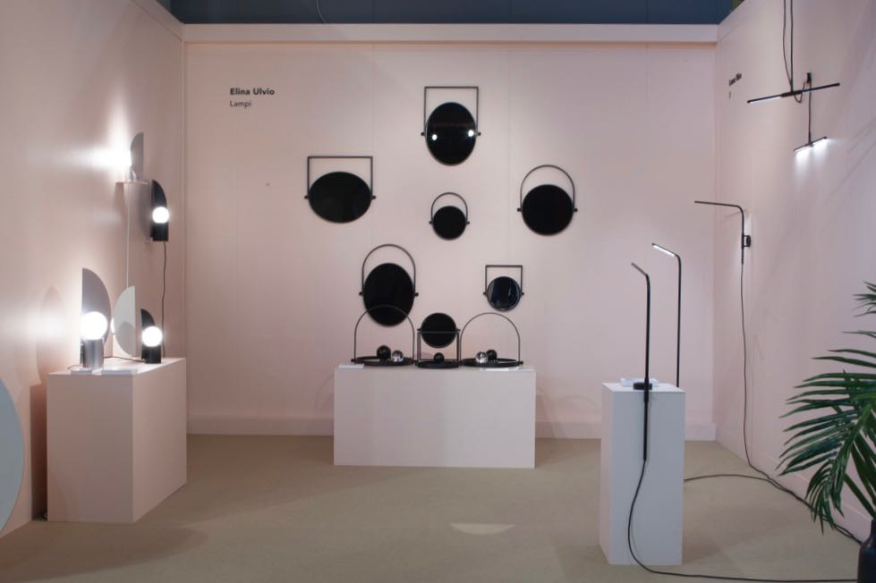 Loumo Collective's graphic stand featured Elena Ulvio's wonderful 'Lampi' folding trays on the back wall and some new lighting products by Laura Väre and Hanna Särökaari. All three women hail from Finland. Photograph by Craig Wall.