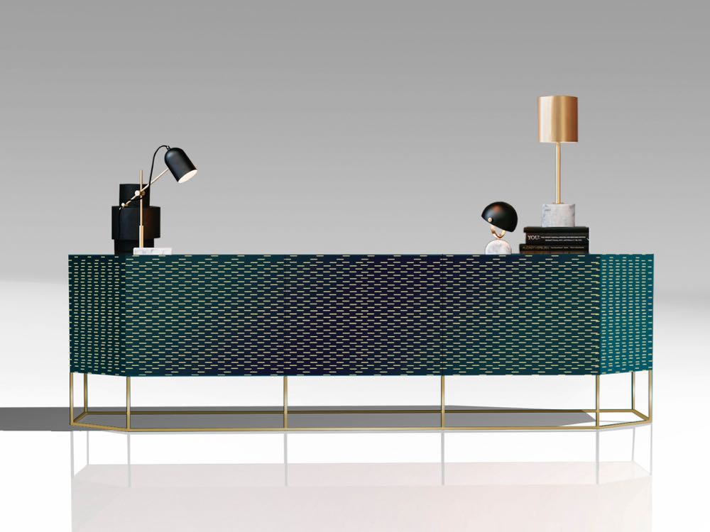 'Shade' sideboard by Giuseppe Vigano for Bonaldo. The green lacquered surface has a fine rectangular pattern running through it in what the marketing material describes as 70's inspired graphics. The overall effect is like computer punch cards.