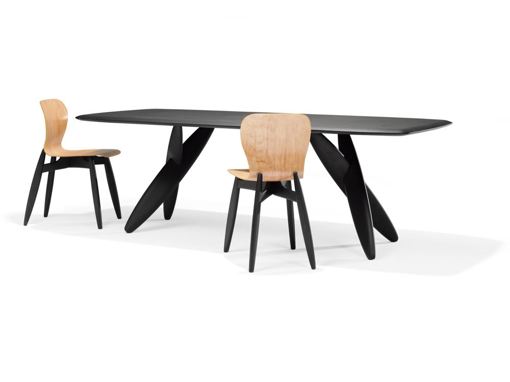 Roderik Voss' 'Ishi' table and chairs for Dutch brand Linteloo feature cigar shaped legs and a dominant base design that lets the table top and chair seat float. Slightly Hansel and Gretel but interesting.