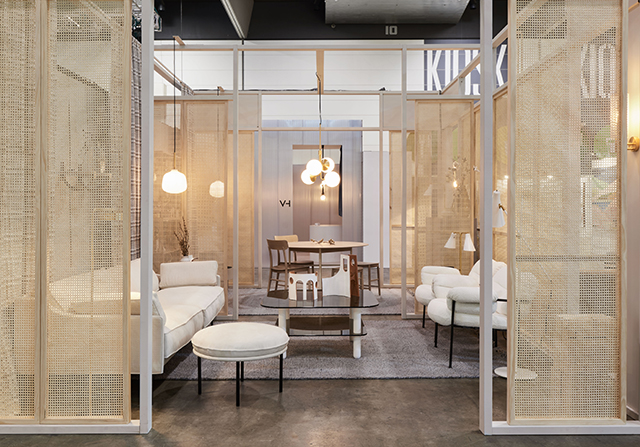 The interior of Fred International's stand was intricate and personal with woven cane providing a softening effect.