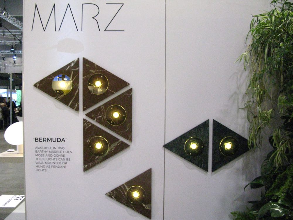 The new 'Bermuda' wall sconces by Marz Design (Coco Reynolds) are tile-like marble fittings. Also available in pendant form.