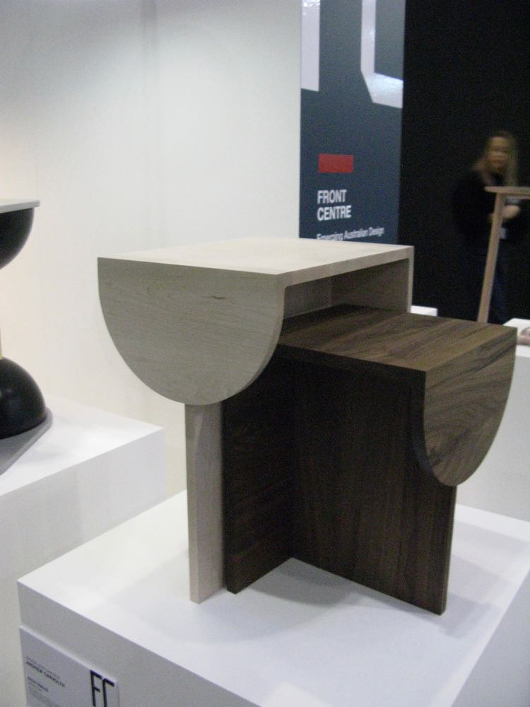 Andrew Carvolth's 'Haus' tables in walnut and oak.