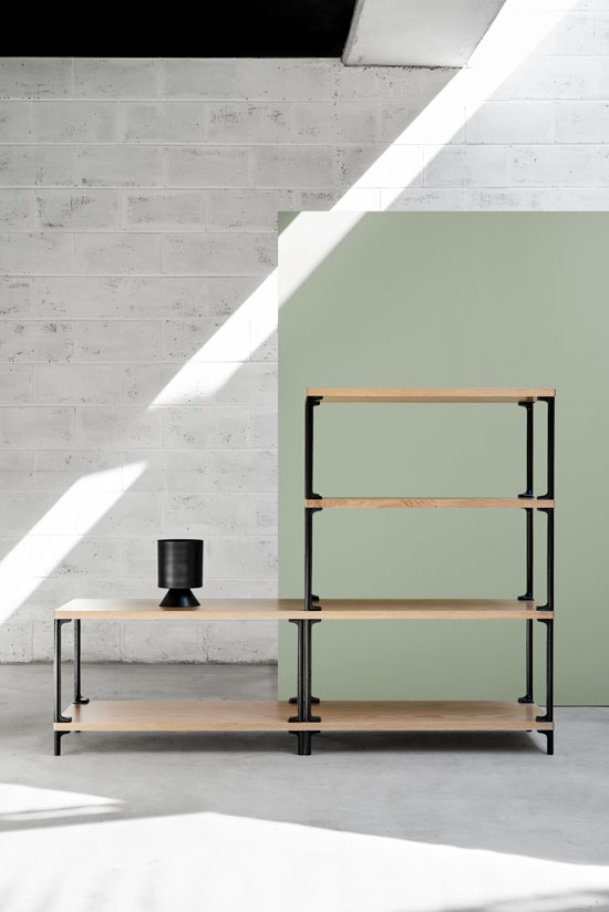 Adam Cornish's 'Frame' shelving for Nau. Styling by Marsha Golemac, photography by Dan Hocking.
