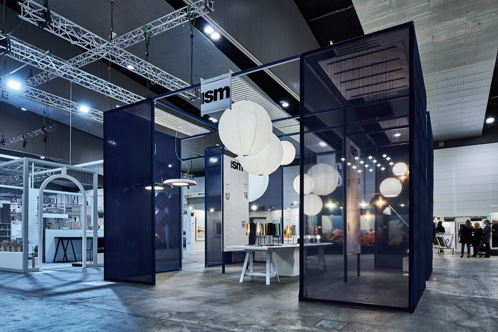 The Ism Objects stand at Denfair used bright blue steel mesh to great effect.