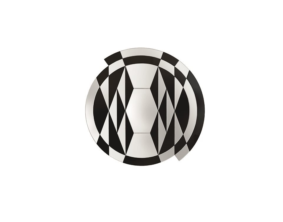 Pietro Russo's op-art style 'Black White Beat' mirror for Galotti & Radice.