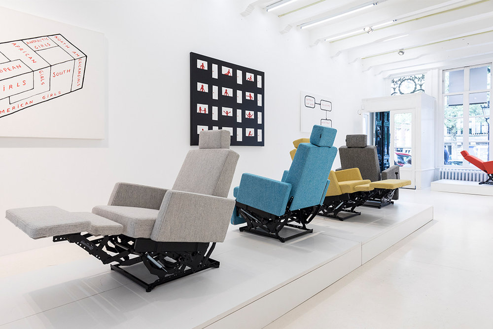 The Lazy Modernist chair on show at the Lensvelt showroom in Amsterdam.