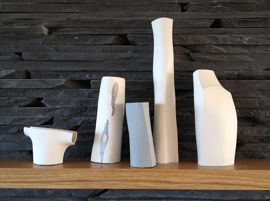 The slip cast porcelain vessels of Liz Stops. Photograph via HareKlein interior design.