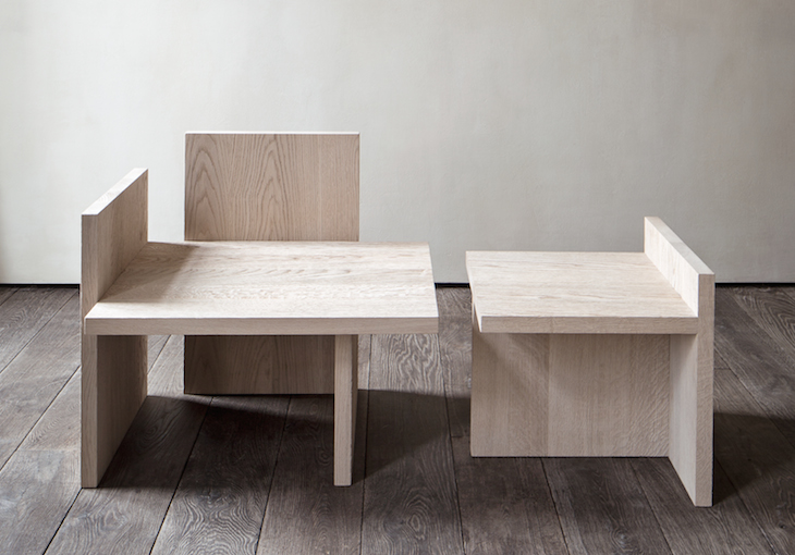 "'Shelf' table and armchair by Michaël Verheyden. These slab-like geometric furniture pieces are confirmation of Verheyden's adage ""the obvious is never obvious"". Much thought has gone into the precise proportions of these pieces."