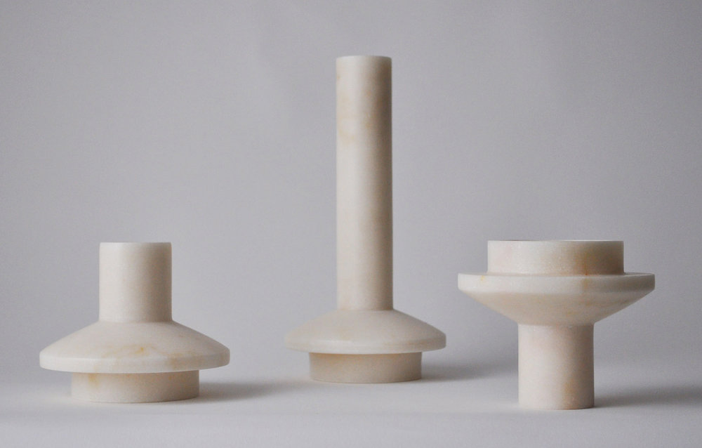 'Lighthouse' candelabra in stone by Michaël Verheyden.