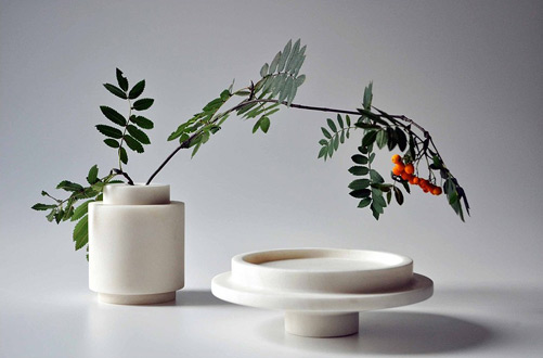 Michaël Verheyden's 'Petite Vase' and platter in white marble.