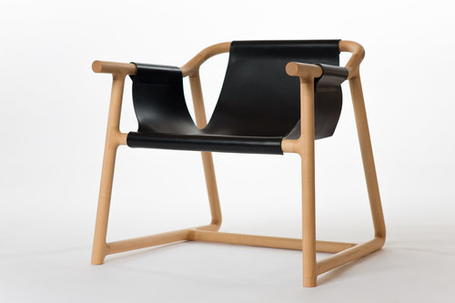 Nicholas Fuller's 'Pelle' chair, 2016. Made from Canadian rock maple and Italian hide.