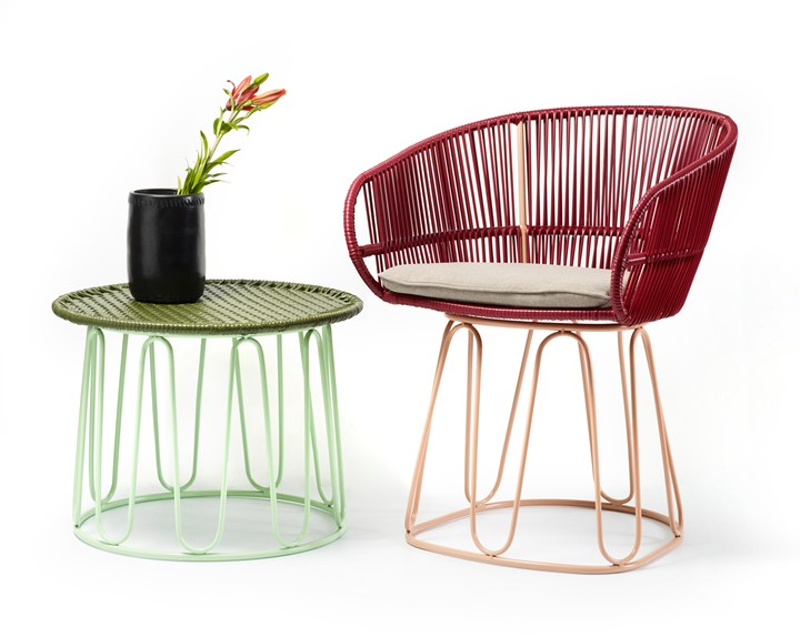 Some of the new 'Circo' collection by Sebastian Herkner for Ames - recycled plastic cord and tubular steel.