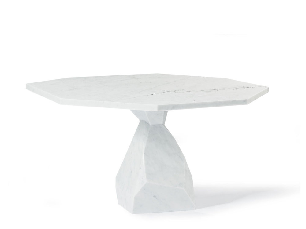 Ginger & Jagger 'Rock' dining table in carved marble.