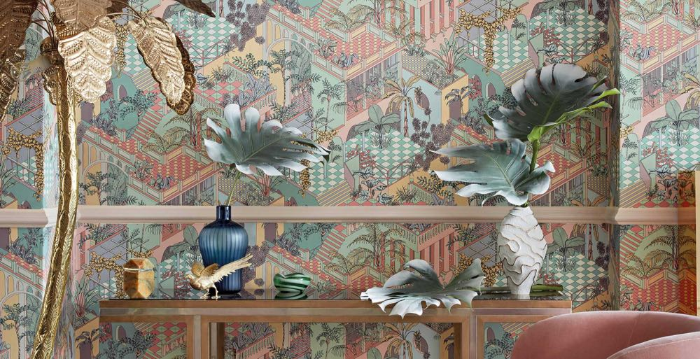 Cole & Son presented a range of their 'Icons' wallpapers in a wonderful pastel Miami palette.